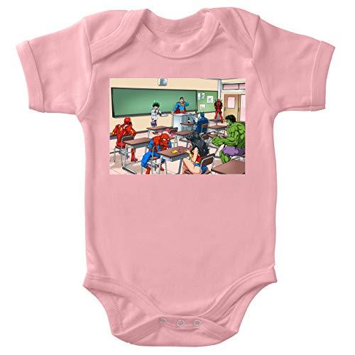 Body bébé Manches Courtes Filles Rose Parodie MCU - Justice League - My Hero Academia - Deku Alias Izuku Miroriya, Deadpool, Iron Man, Wonder Woman, Spider-Man, Batman et Hulk - Quand tu Te trom