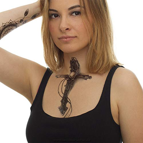 Zwarte kruis XL Tattoo - doodskop hanger ketting- Body Temporary Tattoo - HB838