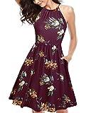 KILIG Women's Halter Neck Floral Summer Dress Strap Sundress with Pockets (A1-Floral,Medium)