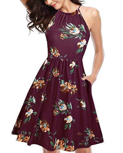 KILIG Women#039s Halter Neck Floral Summer Dress Strap Sundress with Pockets A1FloralMedium