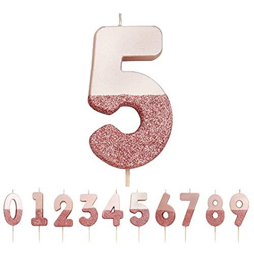 Talking Tables Candela numero 5 con glitter oro rosa; Decorazione per cake topper di qualità premium Pretty, Sparkly; Per bambini, adulti, 50 ° compleanno, anniversario, pietra miliare