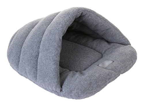 YiJee Warm Haustier Schlafsack Weich Gemütlich Bett und Höhle für Katzen und Hunde Grau L