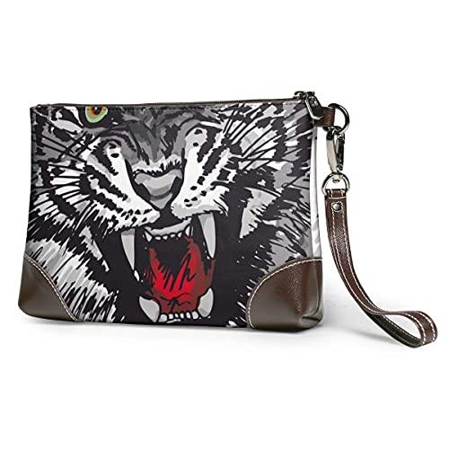 Hdadwy Boceto de tigre ilustración mujeres portátil suave cuero genuino embrague pulsera pequeña bolsa clásica cartera grande