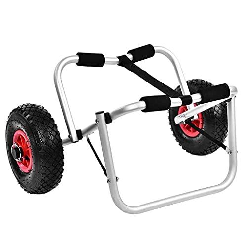 LVLUOKJ Carrito de Kayak, Plegable de Aluminio para Barco, Kayak, Canoa, Transporte de Remolque, Carrito de Transporte con Correa Libre, Capacidad de Carga de 80 kg