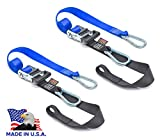 PowerTye 1.5in x 6.5ft Heavy-Duty Ratchet Tie-Downs, Made in USA with Soft-Tye and Carabiner Hooks, Blue/Black (pair)