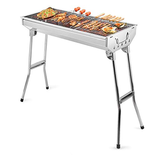 FLL Barbecue Grill Stainless Steel BBQ Charcoal Grill Smoker Barbecue Folding Portable for Outdoor Cooking Camping Hiking Picnics Backpacking Large