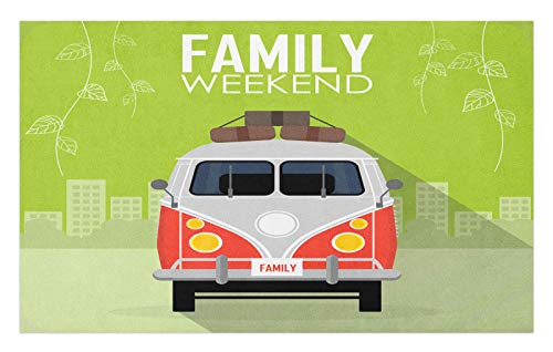 ABAKUHAUS Familia Tapete, Vacaciones de Familia del Coche del Concepto, Decorativo con Fieltro de Poliéster Estampado Base Antideslizante, 45 cm x 76 cm, Multicolor