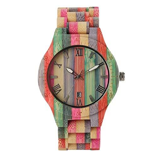 RWJFH Reloj de Madera Reloj de Moda para Hombre, Reloj de Cuarzo de Madera de Lujo, Popular, único, Color Caramelo, muñeca de Madera Completa, Reloj para Mujer, Reloj Masculino, para Hombres