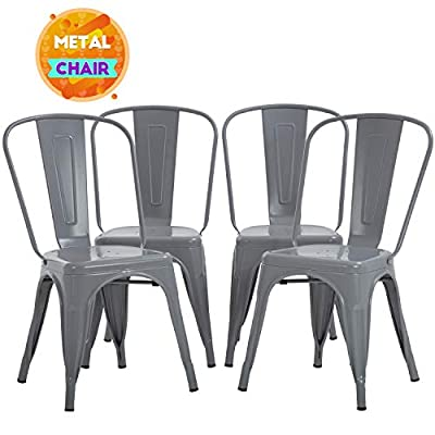 FDW Metal Dining Chairs Set of 4 Indoor Outdoor Chairs Patio Chairs Metal Chairs 18 Inch Seat Height Restaurant Chair Kitchen Chairs 330LBS Weight Capacity Stackable Chair Tolix Side Bar Chairs,Gray