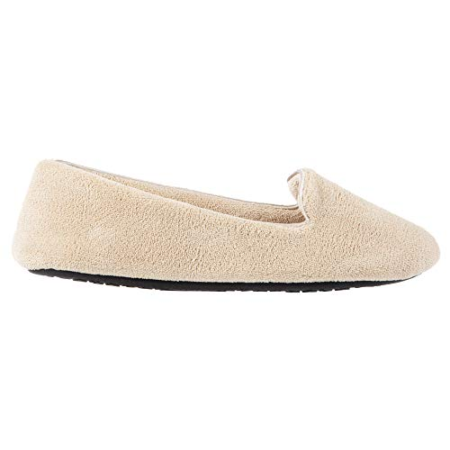 isotoner Women's Stretch Velour Smoking Slipper with All Around Memory Foam, Taupe (Microterry), Small / 5-6