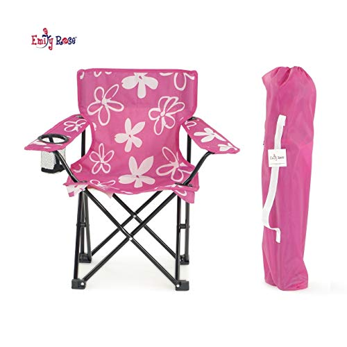 Emily Rose Kid's Camp Chair | Pink and White Flower Child's Squad Folding Outdoor Lawn Beach Chair with Cup Holder and Carry Case