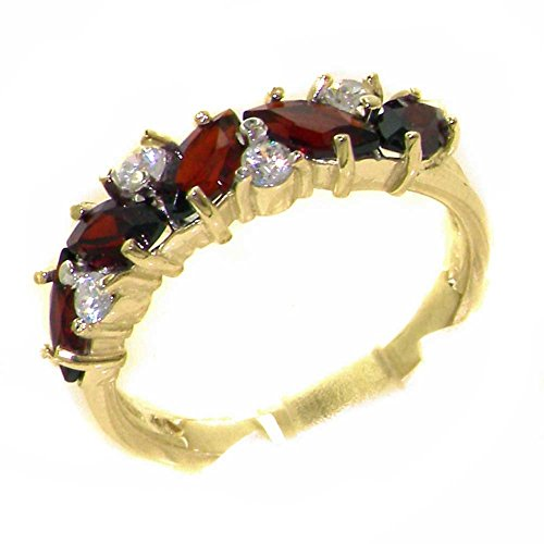 Solid 9ct Yellow Gold Natural Garnet & 0.24ct Cubic Zirconia CZ Ladies Eternity Ring - Size T