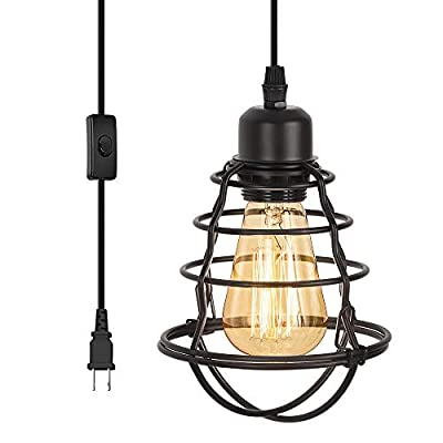 HAITRAL Plug in Pendant Light - Industrial Cage Hanging Light with Cord ON/Off Switch, Mini Vintage Edison Bulb Light Fixture for Kitchen Island Bedroom Living Room Entryway