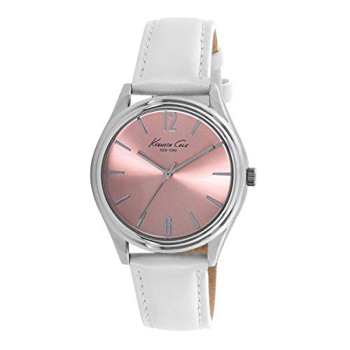 Kenneth Cole Ladies Peach Dial Blanco Correa de Cuero Vestido Reloj 10021752