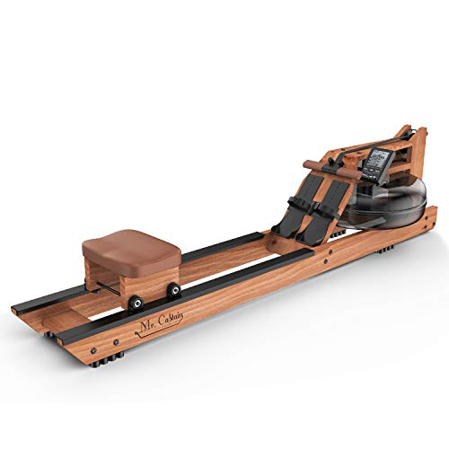 Mr Captain Rowing Machine for Home Use,Water Resistance Natural Red Walnut Wood Rower with Bluetooth Monitor