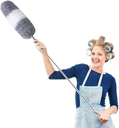 "Microfiber Duster for Cleaning with Telescoping Extension Pole 30 to 100"" Extendable Long Feather Duster for Home,Cleaning High Ceiling,Fan Duster,Wall Duster,Blinds, Baseboards,Cars-Grey & White"