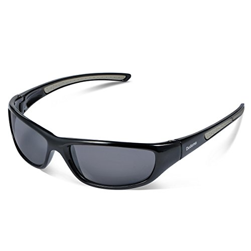 Duduma Gafas de Sol Deportivas Polarizadas Para Hombre Perfectas Para Esquiar Golf Correr Ciclismo TR8116 Súper Liviana Para Hombre y Para Mujer (marco negro con lente negro)