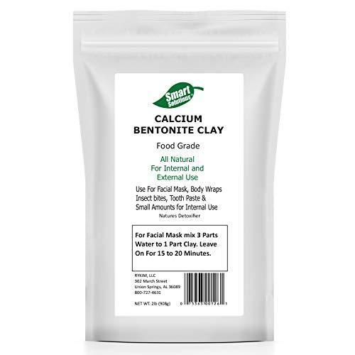 Smart Solutions Calcium Bentonite Clay Food Grade, 2 lb Pure | Natures Detoxifier All Natural for Internal and External Use | DIY Facial Treatments, Deodorants, Hair Masks etc