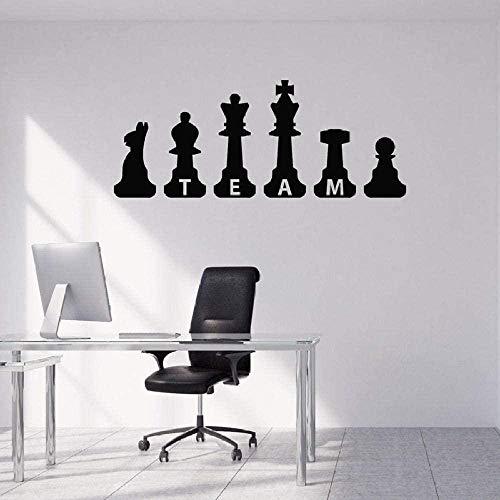 Vinyl Wandaufkleber Wanddekoration DIY Aufkleber Team Zeichnung Schachfiguren Büroraum Kunst inspirierend entfernbar 1282 harte Arbeit 45Cmx65Cm