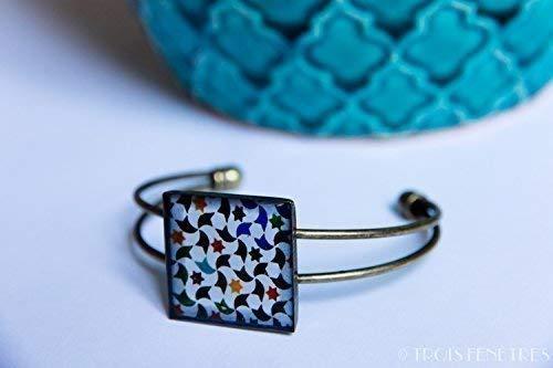 Pulsera Alhambra - Mosaico Estrellas y hélices multicolores - Cerámi