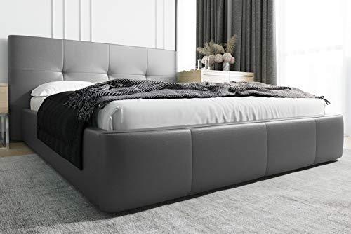 MG Home Polsterbett Bettkasten Lattenroste Doppelbett 4 Größen Venti (Kunstleder Grau 190, 180 x 200 cm)