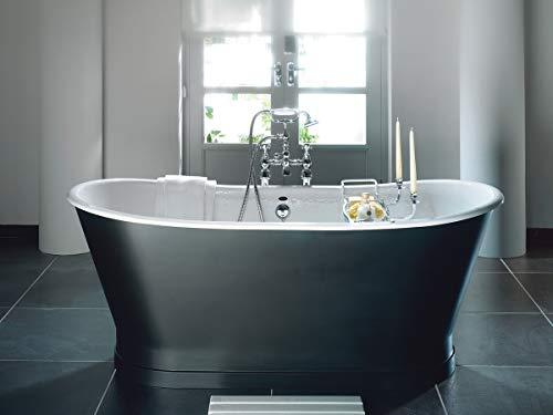 Casa Padrino Jugendstil Badewanne Grau/Weiß 170 x 68 x H. 72,5 cm - Freistehende Badewanne - Badezimmermöbel
