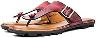 Casual shoes. Cowhide Flip Flops Mens Genuine Leather Sandals Light Beach Slipper Men Summer Shoes Brown Wine Red Sandals Men Zapatos Hombre (Color : Red, Size : 10-MUS)