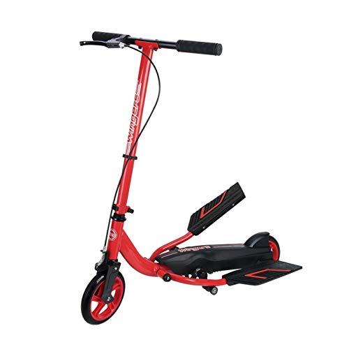 Youpin Patinete plegable para adultos y niños, con doble pedal de acción, patinete, con doble pedal (color: rojo)