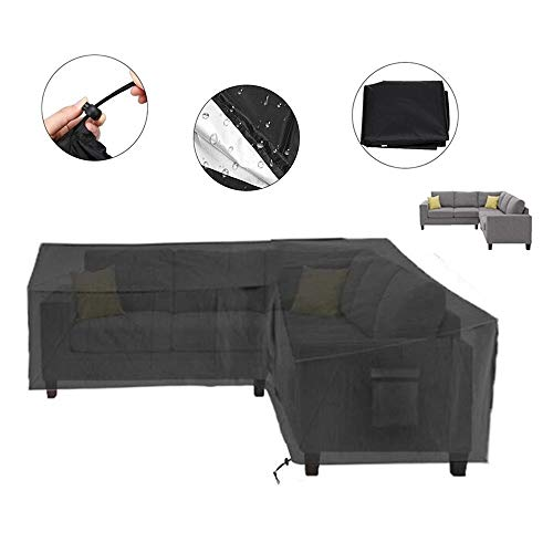 NINGWXQ Outdoor Tuinmeubelen Bank van de Hoek waterdichte hoes Furniture Sofa Cover (Color : Black, Size : 300x300x87x80cm)