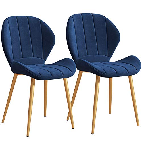 Tulip Dining Chairs 2pcs Soft Velvet Upholstered Seat Without Armrests Gold Metal Legs Office Side Chairs Back Support (Color : Blue)