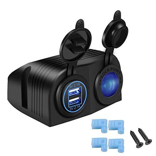 YGL Universale Impermeabile Auto Moto 4.2A Dual USB Charger + 12V/24V Accendisigari Presa Due Hole Tenda Tipo Pannello per Barca Marino ATV RV
