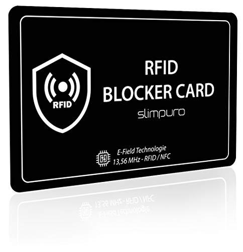 RFID Blocker Karte DEKRA Geprüft - Störsender Technologie - NFC Schutzkarte - Schutz vor Datendiebstahl - extra dünne Karte mit 0,8 mm geeignet für Jede Geldbörse - Blockerkarte für Geldbörse