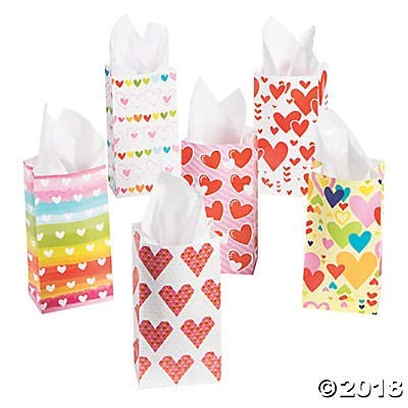 144 Pack- Assortment Valentine Gift/Treat Bags - 10 inch Paper Bags