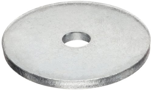 "Carbon Steel Flat Washer, #10 Hole Size, 0.813"" ID, 3"" OD, 0.250"" Nominal Thickness, Made in US (Pack of 5)"