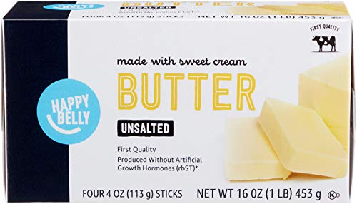 Amazon Brand - Happy Belly Unsalted Butter Sticks, 16 oz. (4 Four Oz. Sticks)
