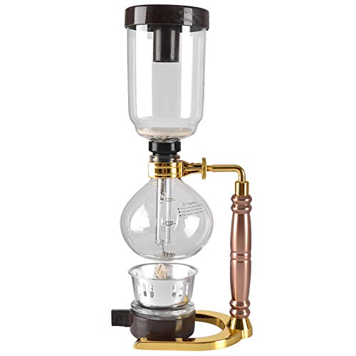 ACAMPTAR Japanischen Stil Siphon Kaffee Maschine Tee Siphon Topf Vakuum Kaffee Maschine Glas Kaffee Maschine Filter 3 Tassen Gold