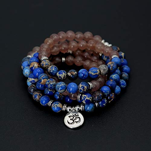 SWAOOS Moda Mujer Pulsera Cuentas De Piedra Natural con Lotus Om Buddha Charm Yoga Pulsera 108 Mala Collar