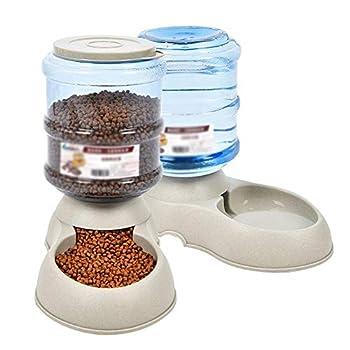 QAF Distributeur De Nourriture/Eau Fontaine Automatique Gamelle pour Chat Grande Capacité Facile À Installer Multi-Choix (Color : Beige, Size : Feeder+Waterer)