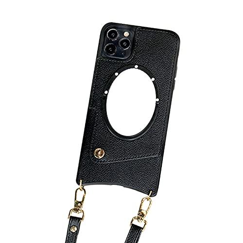 Funda con Cuerda Compatible de Cuero de Tarjeta para iPhone Huawei Mobile Phone Hay un Espejo Que Debe ajustarse un Canal de Tarjeta,Black,iPhone6 7 8 Plus5.5