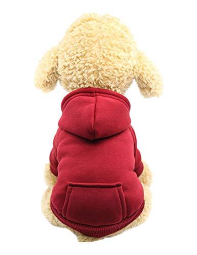 Jueshanzj Heimtierbedarf mit Tasche Hundmantel Winddichte Plus Kaschmir Bequem Hundekleidung Ausflugskleidung rot XXL