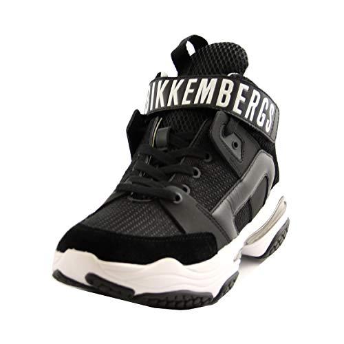 Bikkembergs B4BKM0042 - Zapatillas de goma abombadas para hombre, piel y tela, color negro Negro Size: 43 EU