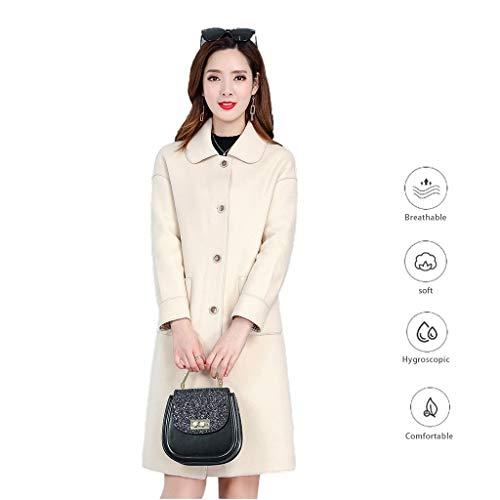 Mantel Frühling und Herbst-Frauen Jacke Fashion dünne Oberbekleidung modische Mädchen Jacke Mittellange Windjacke Einfache Solid Color Jacke (Color : Beige, Size : XXXL)