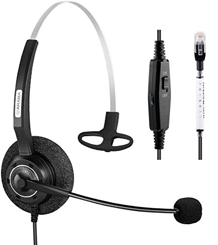 Arama Cisco Headset Corded RJ9 Phone Headset with Noise Canceling Microphone Adjustable Volume Mute Switch ONLY for Cisco IP Phones: 6941, 7841, 7861, 7941, 7942, 7945 7960, 7961, 7962, 7965, A200CM