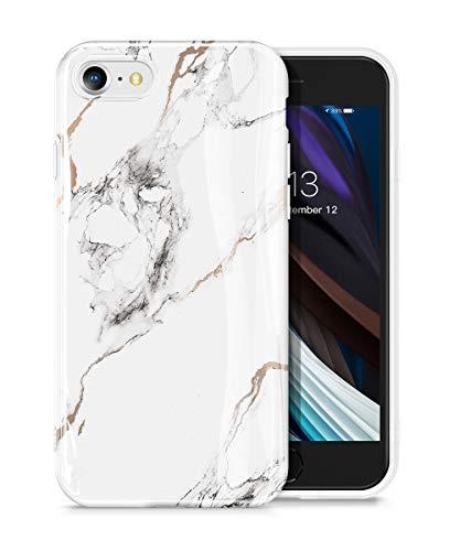 GVIEWIN iPhone SE 2020 iPhone 7 Hülle iPhone 8 hülle Marmor TPU Silikon Marmor Schlank Rundumschutz Robust Handyhülle Marble Handytasche Schutzhülle Cover Case iPhone SE2/7/8 4.7 Inch (Weiß/Golden)