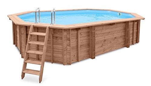 Piscina de jardín Sea Breeze para empotrar en suelo o para colocar sobre superficies, de madera, alargada, 6,07 x 3,96 x 131 m, con bomba, escalera y skimmer