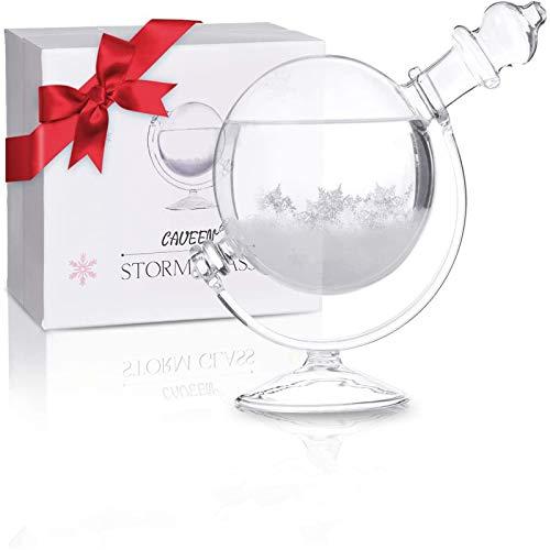 CAVEEN Sturmglas zur Wettervorhersage, Sturm Globe Wetterglas Storm Glass Desktop Dekoration Kristall kreative Wetterstation Wetter Prognose, Geschenk für Geburtstag Weihnachten (Glas Sockel)