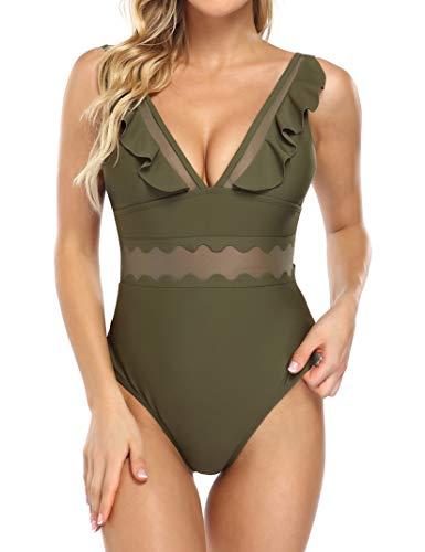 HiMiss Women Deep Ruffle V Neck Padded One Piece Swimsuits Mesh Waist Bathing Suit Swimwear Green