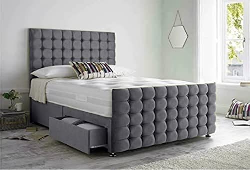 Luxurious Beds Grey Divan Bed with Mattress Headboard And 2 Bottom End Storage Drawers (King Size 152 X 205)