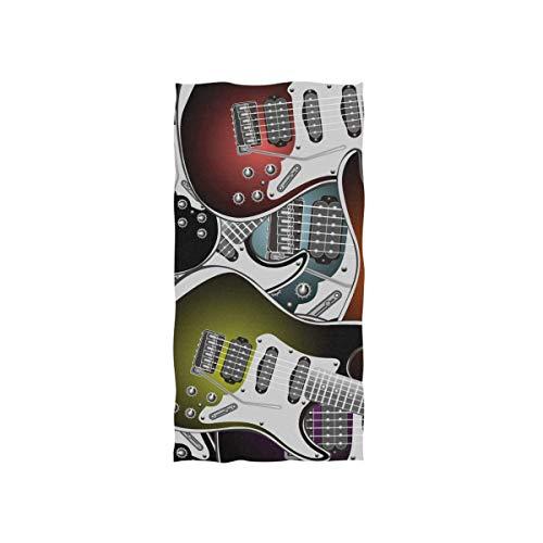 Bert-Collins Towel Toallas de Playa Suaves, patrón de Guitarra Toallas de Playa Altamente absorbentes para baño 80x130cm TWL-533