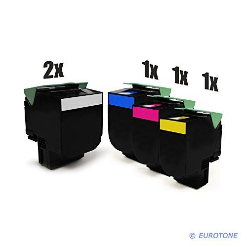 5er Set Eurotone Kompatible Toner XXL für Lexmark CS310 CS410 CS510 ersetzt 702HK 702HC 702HY 702HM High Yield im Sparpack 2X schwarz